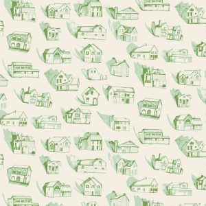 TAPETAI HOUSES Green_Cream