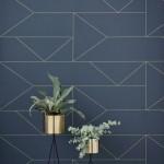 TAPETAI LINES WALLPAPER- DARK BLUE, FERMLIVING 01