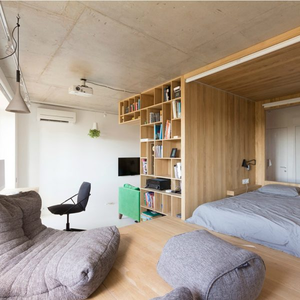 View-of-bedroom-study-and-relaxation-space-apartment-under-50sqm