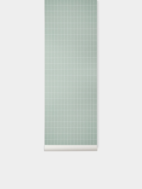 TAPETAI FERMLIVING, Grid Wallpaper - Dusty Green