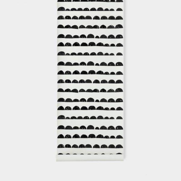 TAPETAI FERMLIVING, Half Moon Wallpaper - Black