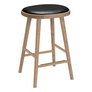 baro kėdė Colibri barstool 63cm oak grey, bonded leather black emb 670GW-63PA