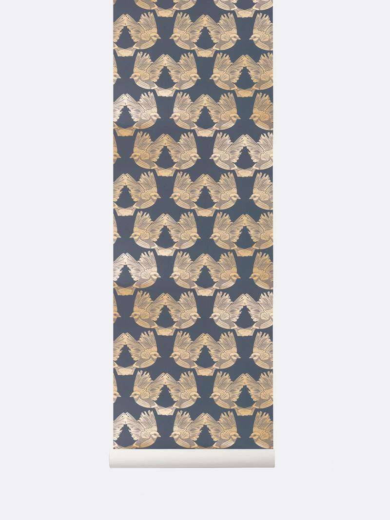 tapetai, fermliving, Birds Wallpaper, Deep Blue Gold, 182