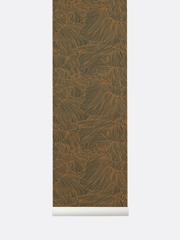 tapetai, fermliving, Coral Wallpaper, Dark Green Gold, 541