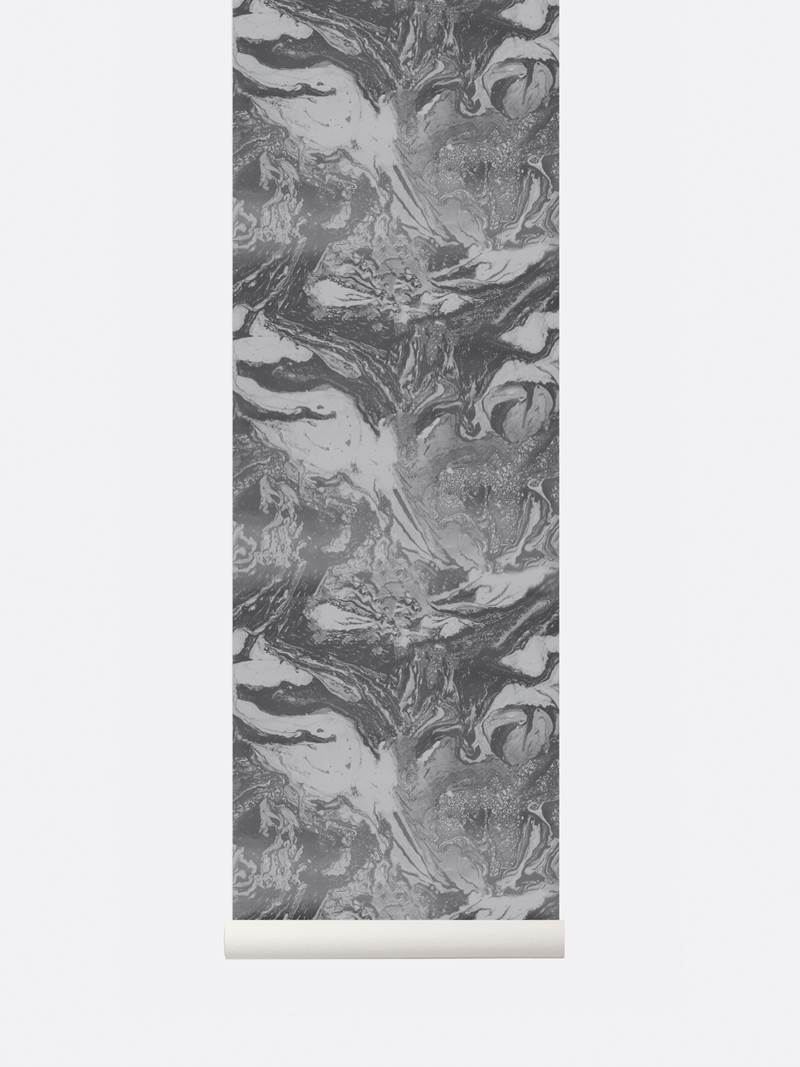 tapetai, fermliving, Marbling Wallpaper, Charcoal, 186