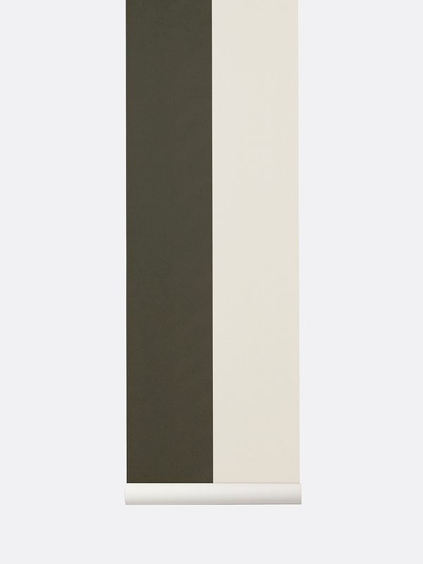 tapetai, fermliving, Thick Lines Wallpaper, Green Off White, 542