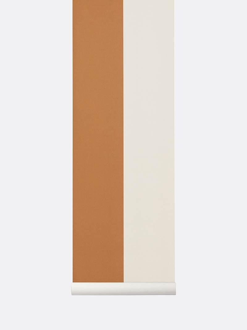 tapetai, fermliving, Thick Lines Wallpaper, Mustard-Off White, 544