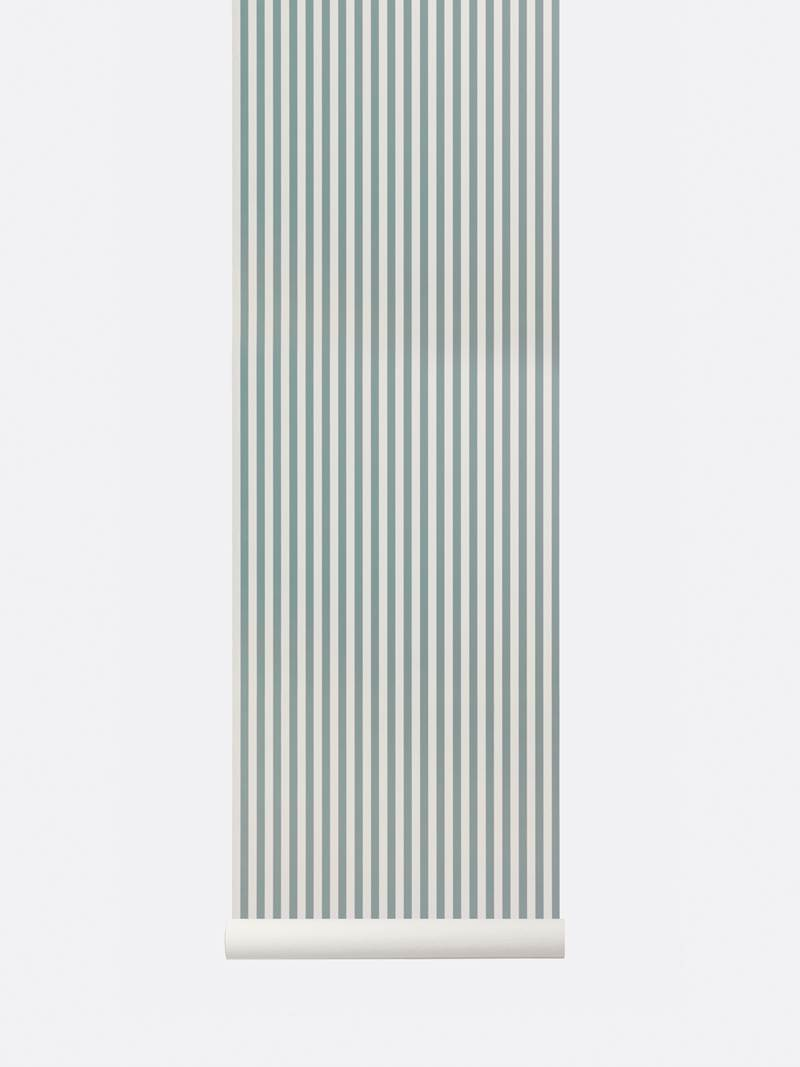 tapetai, fermliving, Thin Lines Wallpaper, DustyBlue - OffWhite, 184