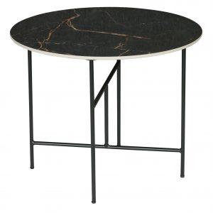 staliukas Vida coffee table with marble look tabletop black 48xø60