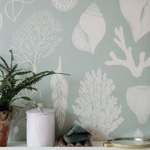 tapetai fermliving, Katie Scott Wallpaper, Shells, Aqua interjere