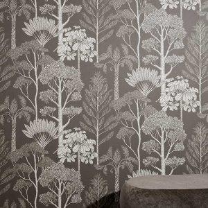 tapetai fermliving, Katie Scott Wallpaper, Trees, Grey interjere