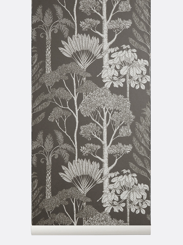 tapetai fermliving, Katie Scott Wallpaper, Trees, Grey
