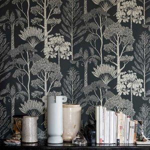 tapetai fermliving, Katie Scott Wallpaper, Trees, petrol interjere
