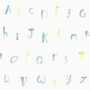 Tapetai make believe, alphabet cream blue, 12561
