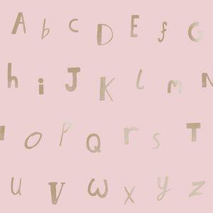 Tapetai make believe, alphabet pink gold, 12563