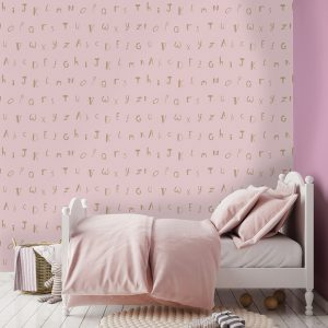 Tapetai make believe, alphabet pink gold, 12563 interjere
