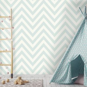 Tapetai make believe, chevron soft teal, 12570 interjere