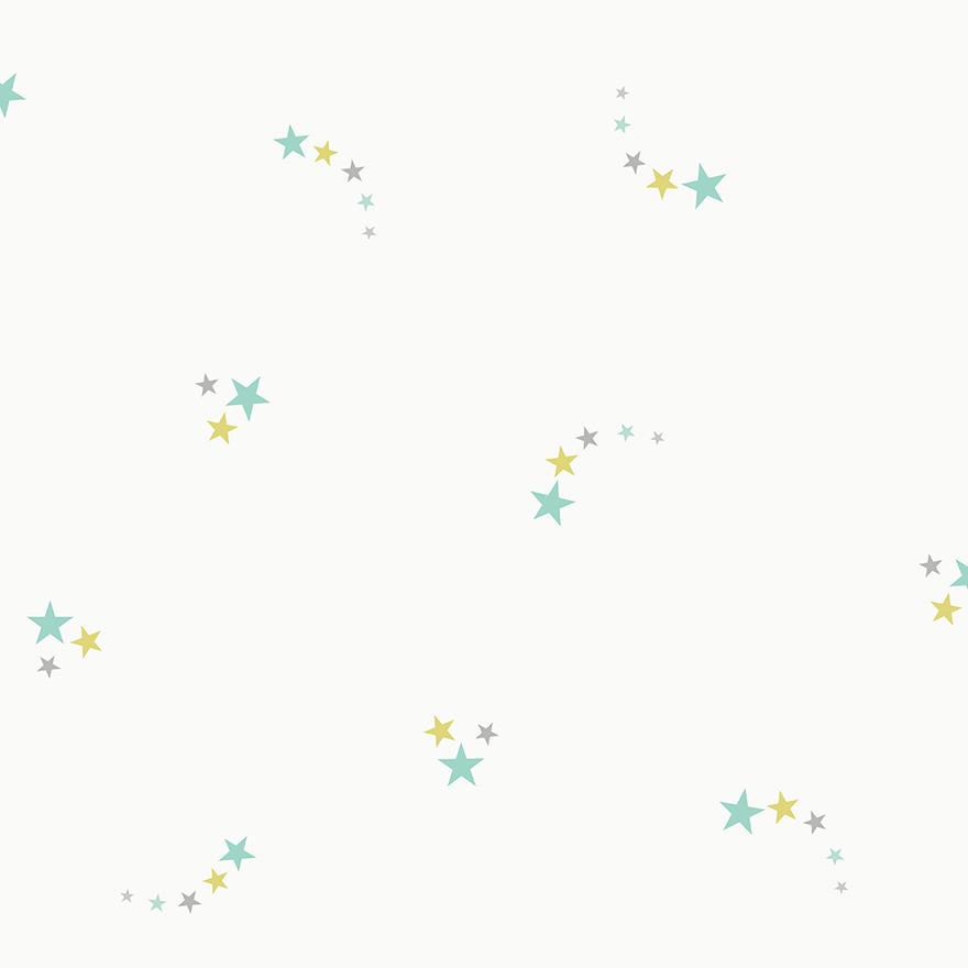 Tapetai make believe, shooting stars soft teal, 12592