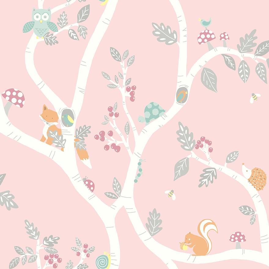 Tapetai make believe, woodland adventure dusky pink, 12492