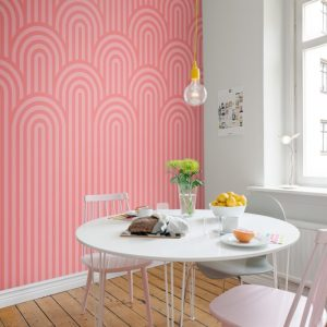tapetai rebelwalls, deco, Happy Hills, Bubble Gum R16283 interjere