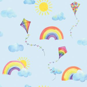 TAPETAI, OVER THE RAINBOW, RAINBOWS AND FLYING KITE BLUE,91022