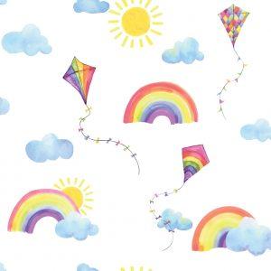 TAPETAI, OVER THE RAINBOW, RAINBOWS AND FLYING KITE WHITE MULTI, 91020