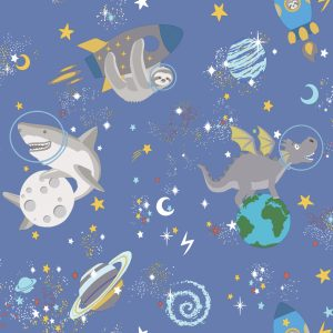 TAPETAI, OVER THE RAINBOW, SPACE ANIMALS BLUE, 90921