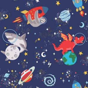 TAPETAI, OVER THE RAINBOW, SPACE ANIMALS NAVY, 90922, GLOW IN THE DARK