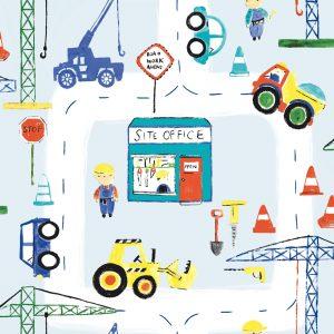 Tapetai make believe, road work ahead blue, 11051