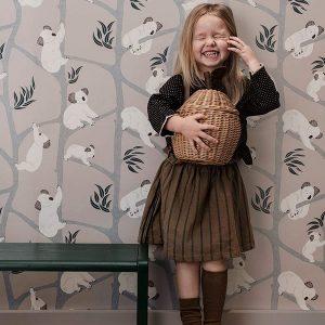 tapetai Koala Wallpaper - Grey interjere