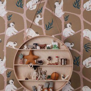 tapetai Koala Wallpaper - Mustard interjere