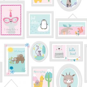 TAPETAI, OVER THE RAINBOW, ANIMAL FRAME TEAL PINK, 90971