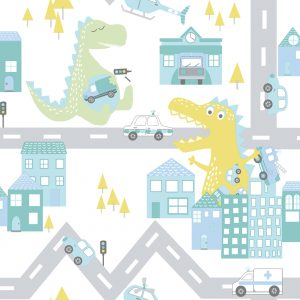 TAPETAI, OVER THE RAINBOW, DINO ROAD TEAL_LIME, 90912