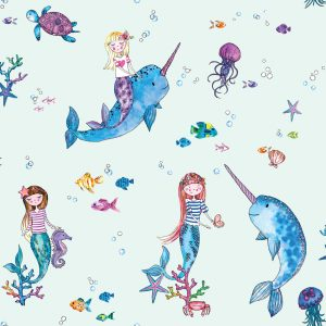 TAPETAI, OVER THE RAINBOW, NARWHALS AND MERMAIDS LIGHT TEAL, 91011