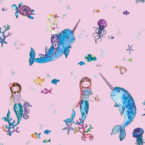 TAPETAI, OVER THE RAINBOW, NARWHALS AND MERMAIDS PINK, 91010
