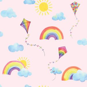 TAPETAI, OVER THE RAINBOW, RAINBOWS AND FLYING KITE PINK,91021