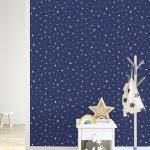 TAPETAI, OVER THE RAINBOW, STARS AND MOONS BLUE, 90982, GLOW IN THE DARK, SIENA