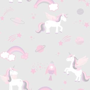 TAPETAI, OVER THE RAINBOW, UNICORNS, ROCKETS AND RAINBOWS GREY 90960