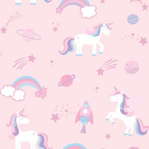 TAPETAI, OVER THE RAINBOW, UNICORNS, ROCKETS AND RAINBOWS PINK 90961