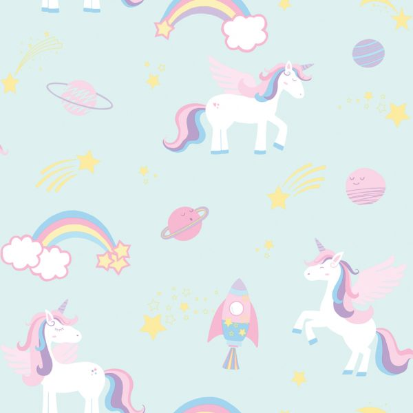 TAPETAI, OVER THE RAINBOW, UNICORNS, ROCKETS AND RAINBOWS TEAL 90962